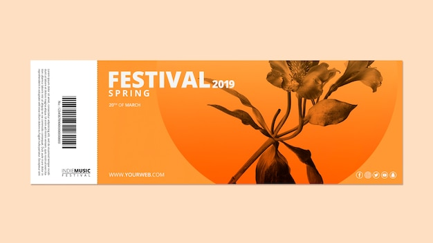 Admission ticket template with spring festival concept Free Psd