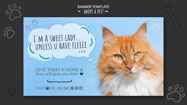 고양이의 사진과 함께 친구 배너 템플릿 채택 무료 PSD 파일