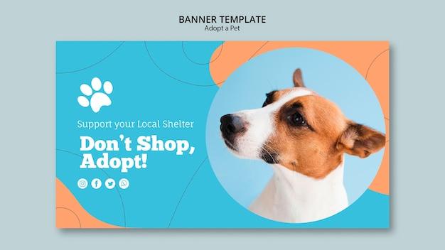 애완 동물 배너 템플릿 채택 무료 PSD 파일