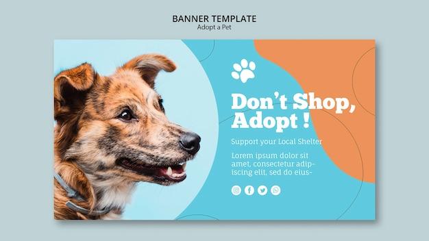 애완 동물 캠페인 배너 템플릿 채택 무료 PSD 파일