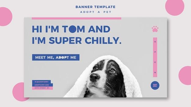 애완 동물 개념 배너 템플릿을 채택 무료 PSD 파일