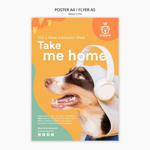 Принять стиль флаера для домашних животных Бесплатные Psd
