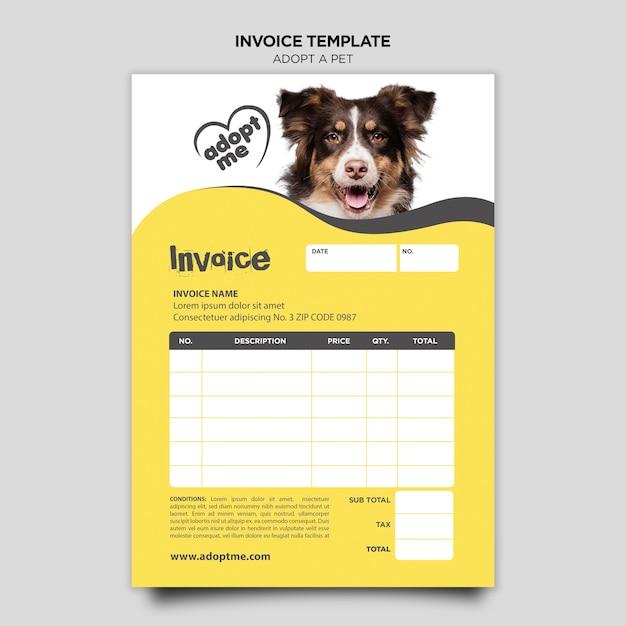 ペット請求書テンプレートを採用する 無料 Psd