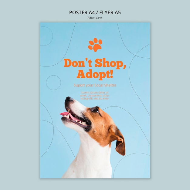 Принять шаблон постера для домашних животных Бесплатные Psd