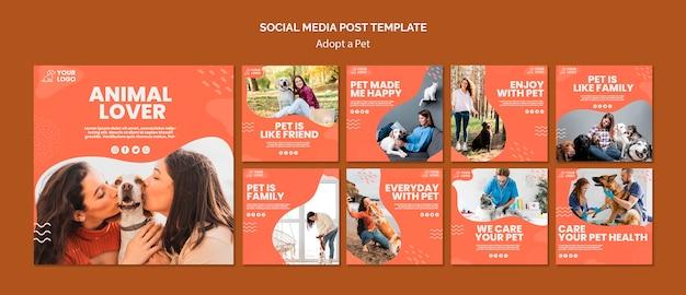 애완 동물 소셜 미디어 게시물 채택 무료 PSD 파일
