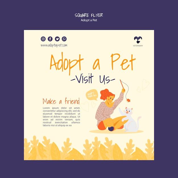 애완 동물 광장 전단지 디자인을 채택 무료 PSD 파일