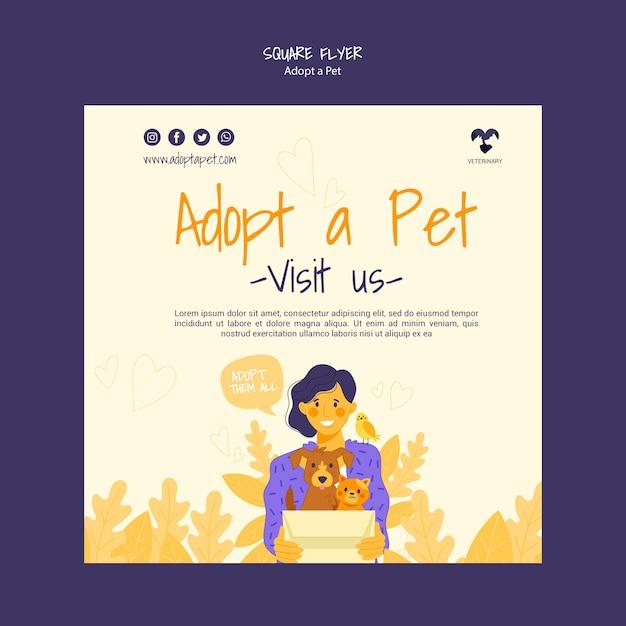 애완 동물 광장 전단지를 채택 무료 PSD 파일