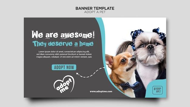 동물 배너 템플릿 채택 무료 PSD 파일