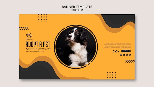 Adopt a domestic petbanner template Free Psd