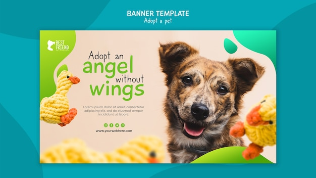 Adotta un modello di banner cane amichevole Psd Gratuite