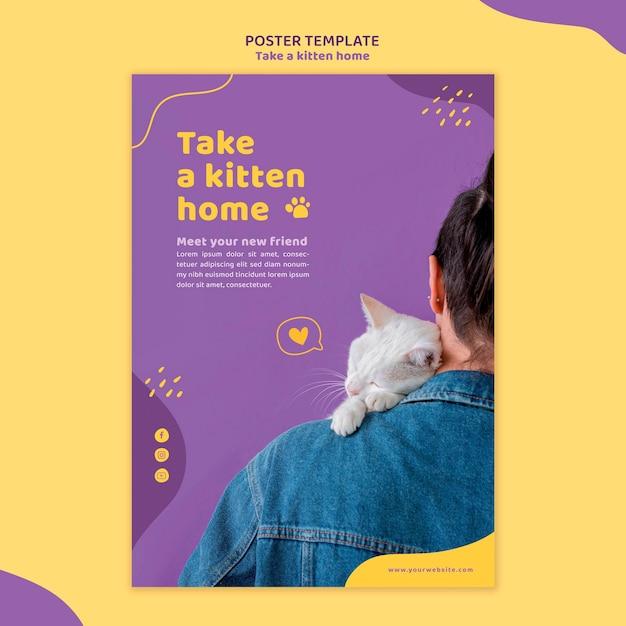 Adotta un modello di poster per gattini Psd Gratuite