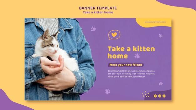 Adotta un banner modello gattino Psd Gratuite