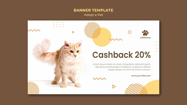 Adopt a pet banner design template Free Psd