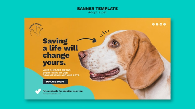 Adopt A Pet Banner Style Template Free Psd File