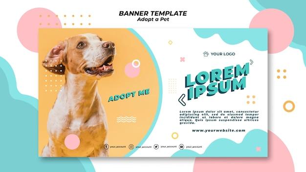 애완 동물 배너 템플릿 개념을 채택 무료 PSD 파일