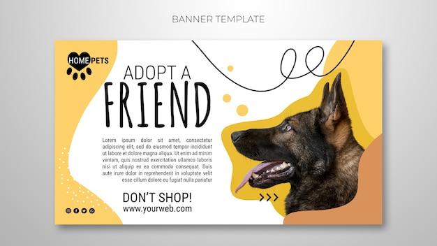 Adotta un modello di banner per animali domestici con foto Psd Gratuite