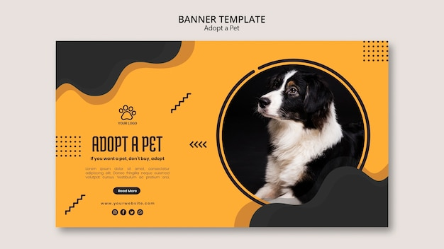 Adopt a petborder collie dog banner template Free Psd