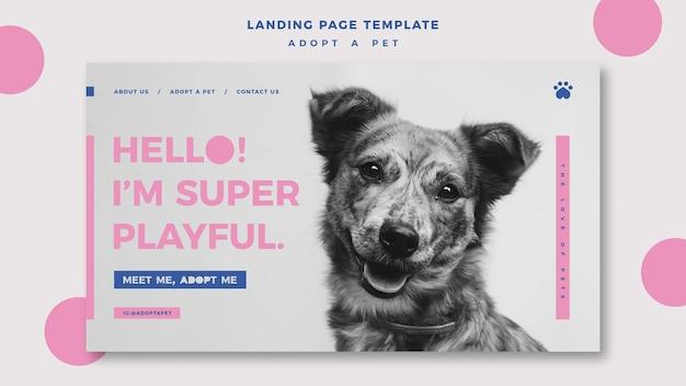 Adotta un modello di pagina di destinazione per animali domestici Psd Gratuite