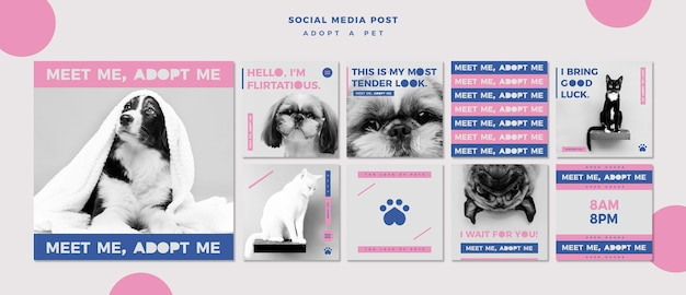 Adopt a pet concept social media post template Free Psd