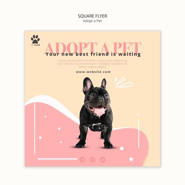 애완 동물 전단지 템플릿 개념을 채택 무료 PSD 파일