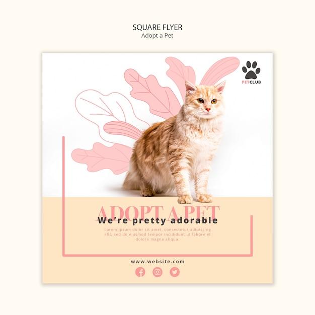 애완 동물 전단지 템플릿 디자인 채택 무료 PSD 파일