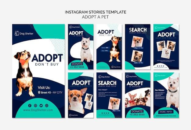 Adotta una raccolta di storie per instagram per animali domestici Psd Gratuite