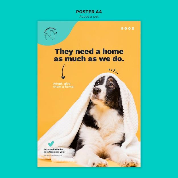 Adopt a pet poster design Free Psd