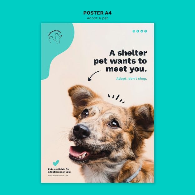Adopt a pet poster style Free Psd