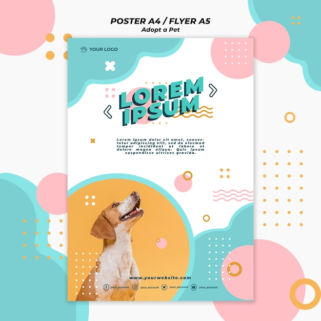 애완 동물 포스터 템플릿 개념을 채택 프리미엄 PSD 파일