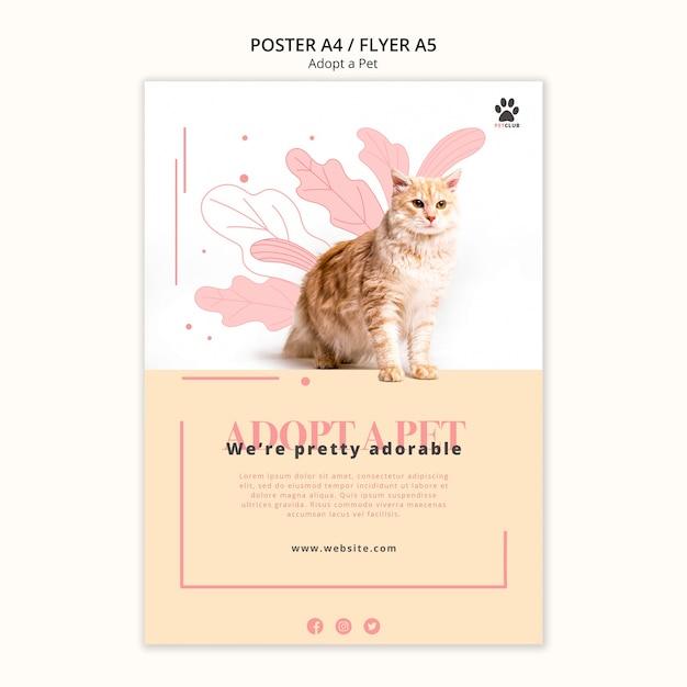 애완 동물 포스터 템플릿 디자인 채택 무료 PSD 파일