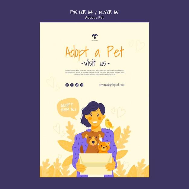Adotta un modello di poster per animali domestici Psd Gratuite