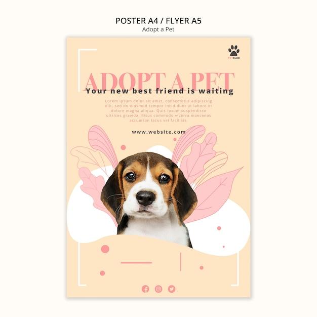 애완 동물 포스터 템플릿 테마 채택 무료 PSD 파일