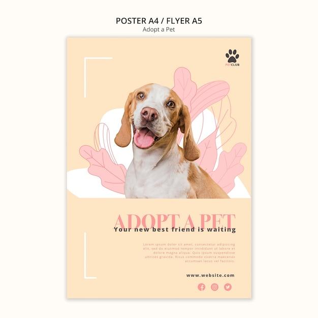 애완 동물 포스터 템플릿 채택 무료 PSD 파일