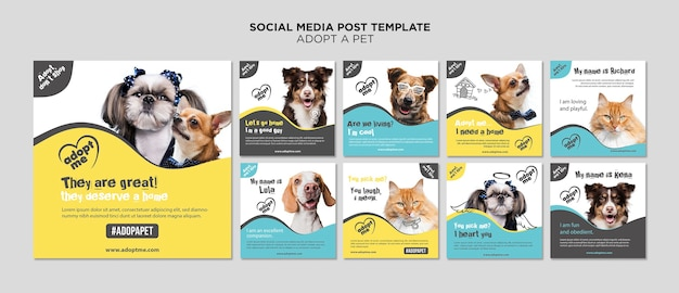 Adopt a pet social media post template Free Psd
