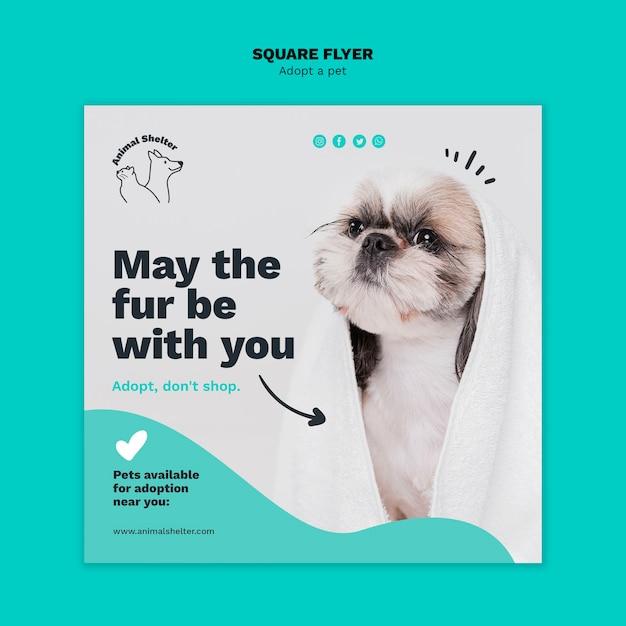 Adopt a pet square flyer design Free Psd