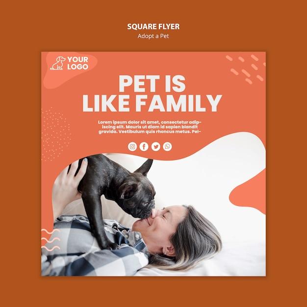 Adotta un design volantino quadrato per animali domestici Psd Gratuite