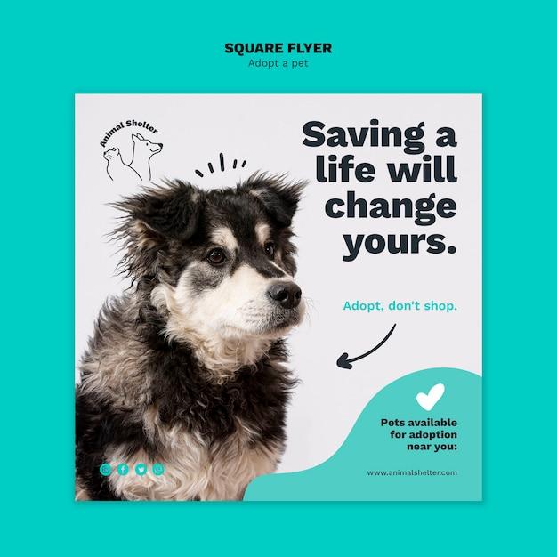 Adopt a pet square flyer Free Psd