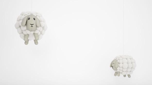 Очаровательные детские игрушки из овечьей шерсти с белым copyspace Бесплатные Psd
