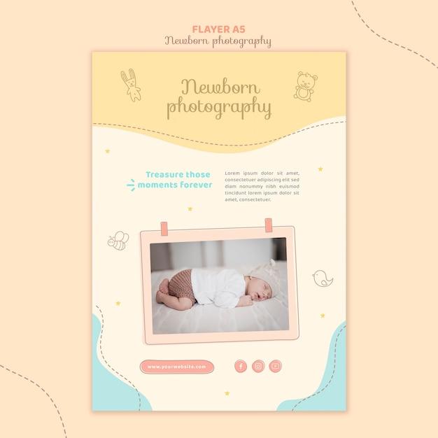 Очаровательный сонный новорожденный флаер канцелярский шаблон Бесплатные Psd