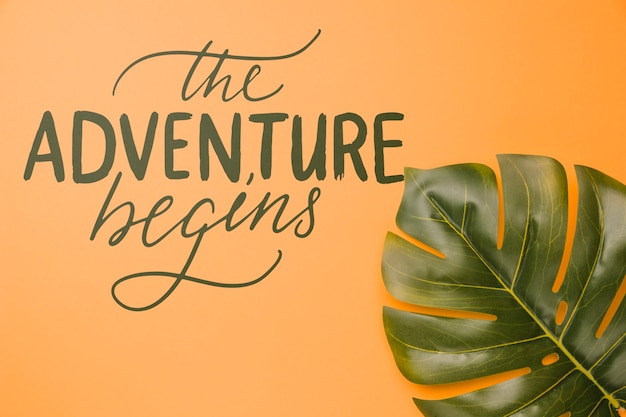 The adventure begins, lettering with palm leaf tropical Free Psd