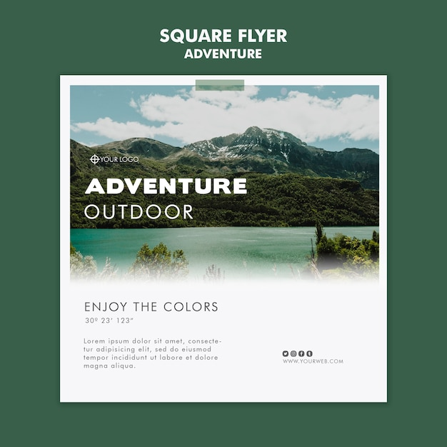 Adventure flyer template design Free Psd