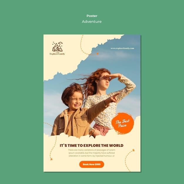 Шаблон плаката приключений на открытом воздухе для детей Бесплатные Psd