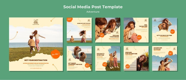Adventure outdoors children social media post template Free Psd