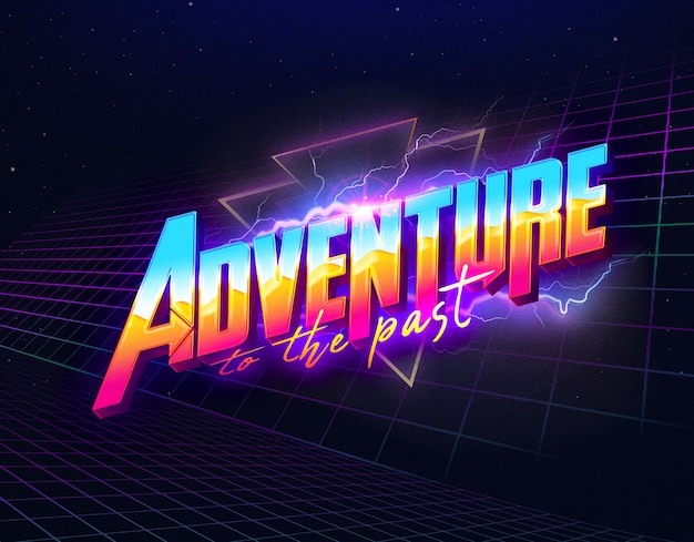Adventure to the past text effects template psd layer style Premium Psd