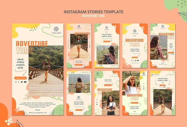 Adventure time instagram stories template Free Psd