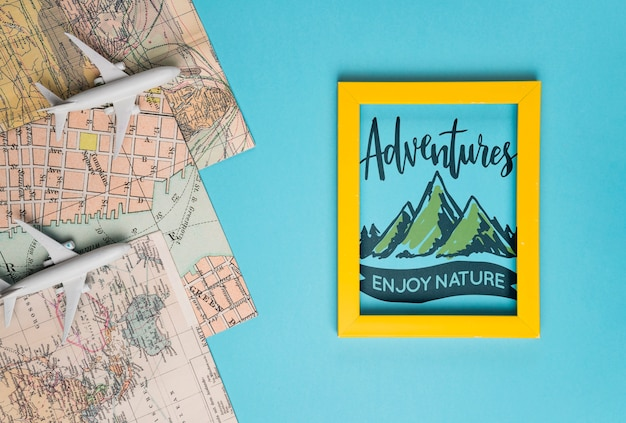 Adventures enjoy nature, motivational lettering quote for holidays traveling concept Free Psd