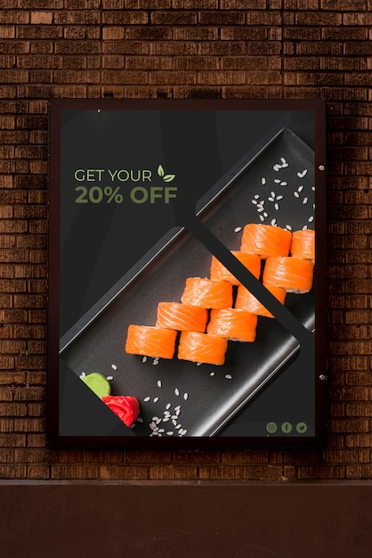 Advertising mock-up with sushi Free Psd