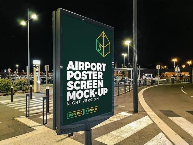 공항 야간 거리 광고판 모형 프리미엄 PSD 파일