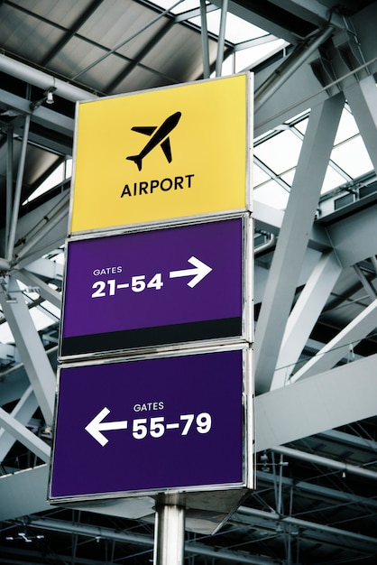 Airport sign mockups for airline logos Free Psd