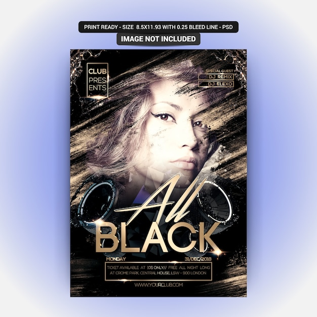 All black night party flyer Premium Psd